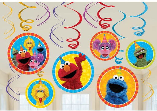 Elmo and Friends - 1x Swirl Decoration Birthday Party Supplies Dangler Pack of 12