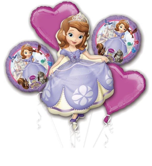 Disney Sofia The First Happy Birthday Party Favor 5CT Foil Balloon Bouquet HELIUM NOT INCLUDED