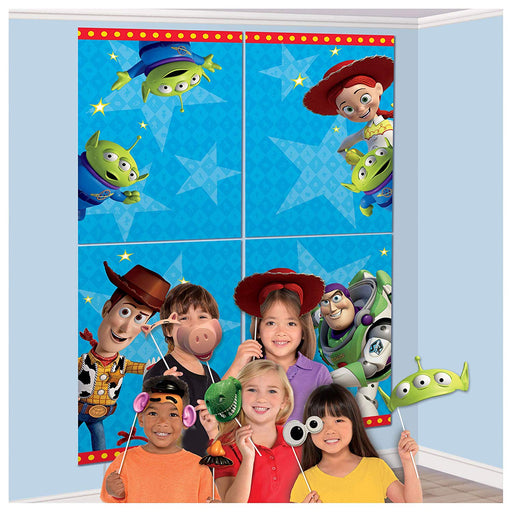 Toy Story 4- WALL BANNER DECORATING KIT 5pc + 12 Photo Props! photo background