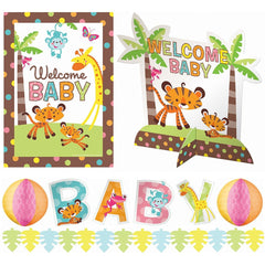 Amscan Adorable Baby Shower Party Jungle Animal Assorted Room Decorating Kit