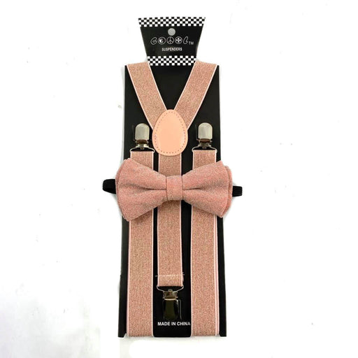 Adult Matching Set - Rose Gold Fuzzy Suspender and Bow Tie