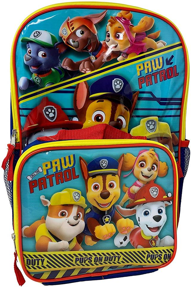 "Paw Patrol: 16"" Backpack - Detachable Insulated Lunch Bag"