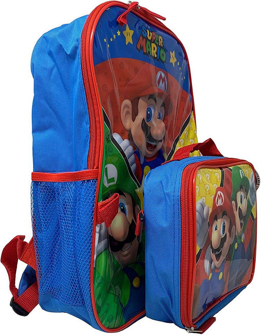 "Super Mario: 16"" Backpack - Detachable Insulated Lunch Bag"