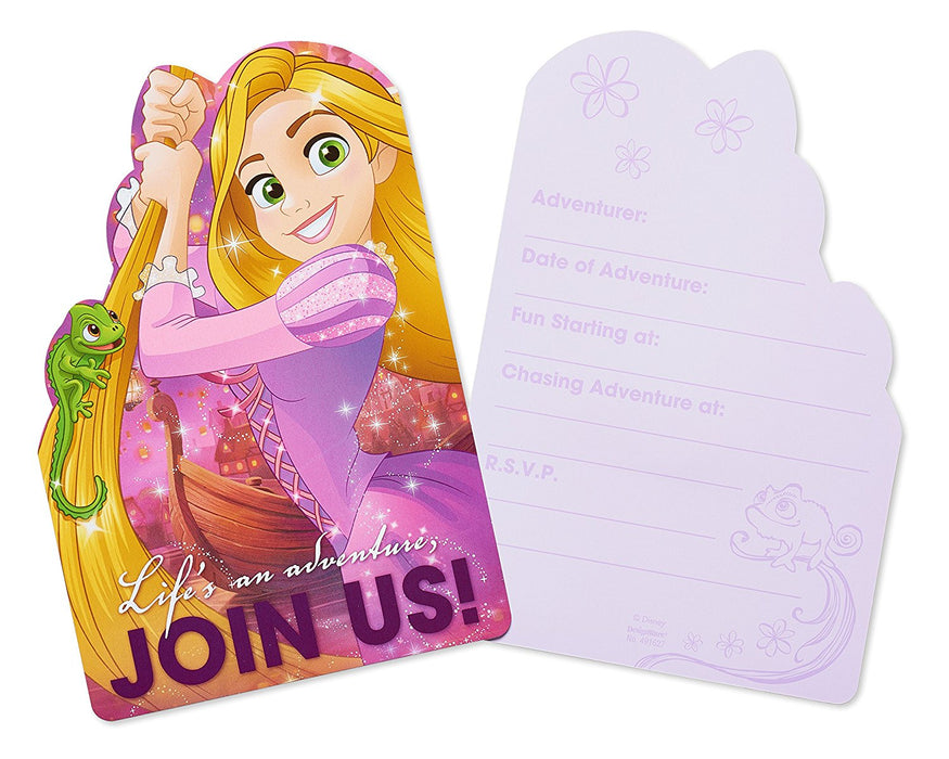 Pack of 8 Disney Tangled Princess Rapunzel - Birthday Party Post Card Invitation