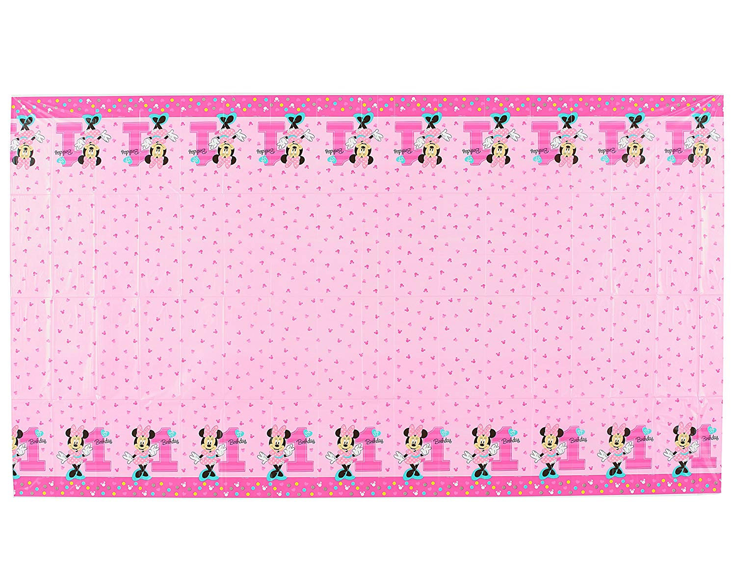 Disney Minnie Mouse 1st Birthday Table Cover Measures 54 in x 96 in 36 sq  sc 1 st  Beyond Party Supplies & Disney Minnie Mouse 1st Birthday Table Cover Measures 54 in x 96 in ...