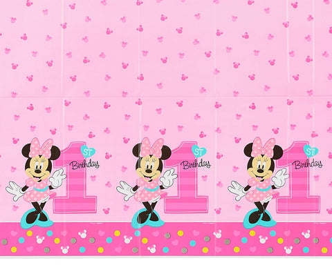 Disney Minnie Mouse 1st Birthday Table Cover Measures 54 in x 96 in, 36 sq ft