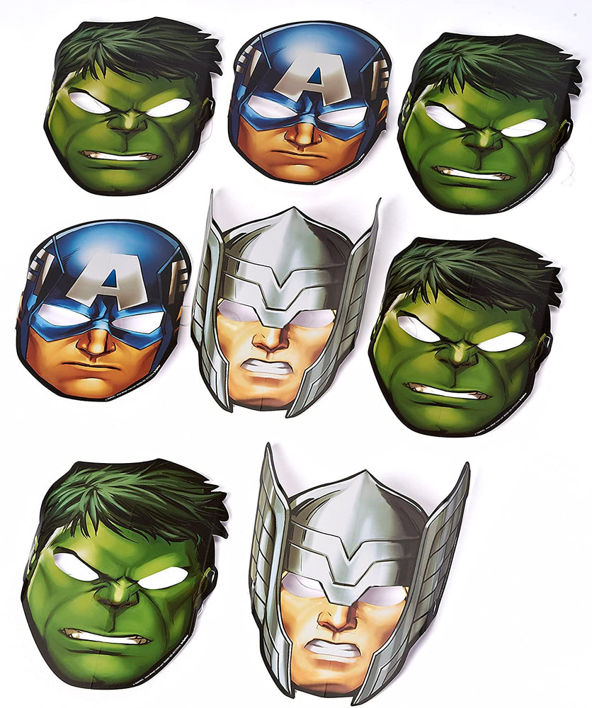 MARVEL AVENGERS - Birthday Paper Masks (8 ct) Party Supplies