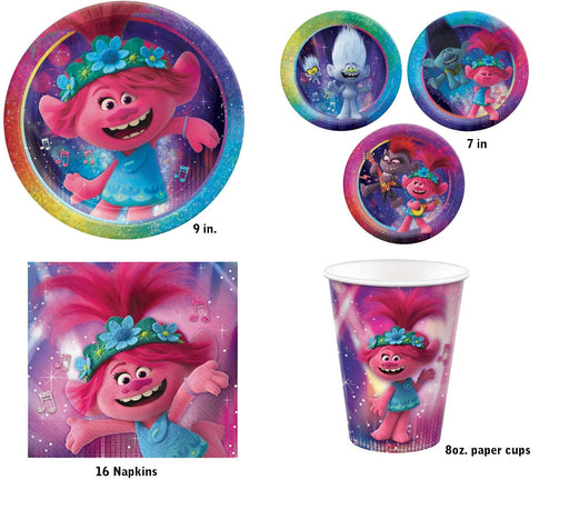 Trolls World Tour: Birthday Express Pack for 8 Guests (Cups Napkins & Plates)