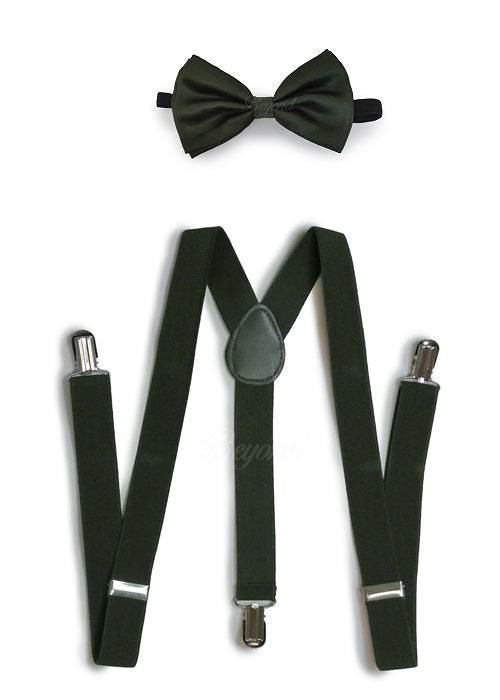 Olive Hunter Green Matching Set Suspender and Bow Tie