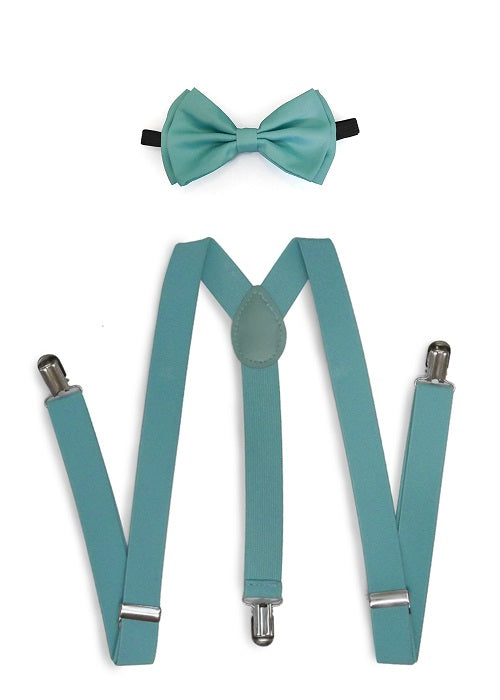 Mint Blue Matching Set Suspender and Bow Tie