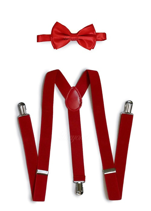 Red Matching Set Suspender and Bow Tie