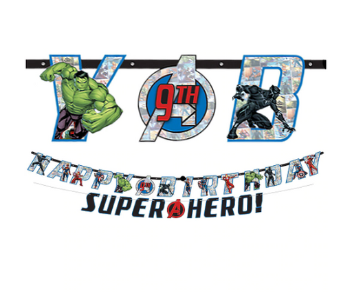 Marvel Avengers Powers Unite Personalized Birthday Banner Kit 2ct