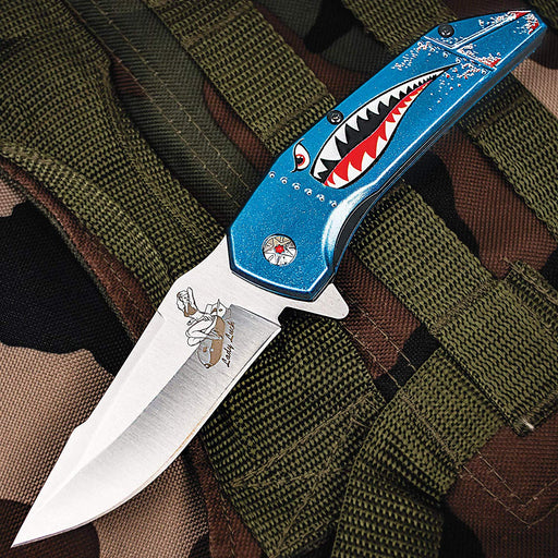 "M Tech USA Spring Assisted Knife 3.5"" Steel Blade Military Shark Head Art on Handle MT-A1129BL"