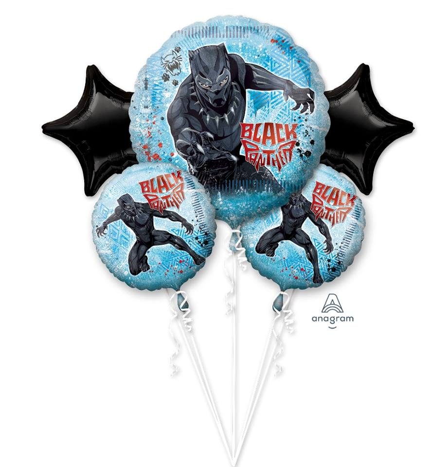 Black Panther Balloon Bouquet 5pc HELIUM NOT INCLUDED