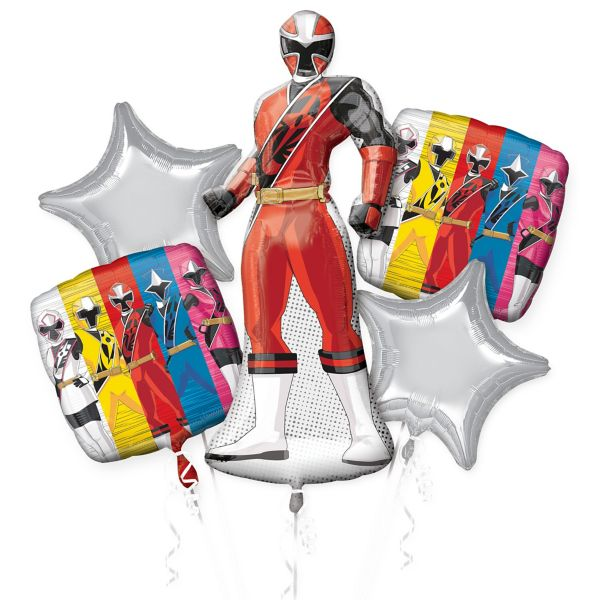 Saban's Power Ranger Happy Birthday Party Favor 5CT Foil Balloon Bouquet HELIUM NOT INCLUDED