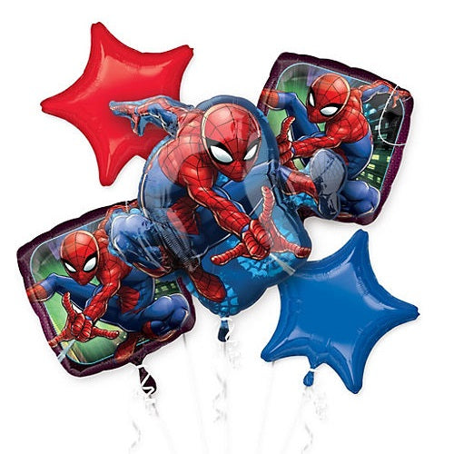 Marvels Amazing Spiderman Happy Birthday Party Favor 5CT Foil Balloon Bouquet