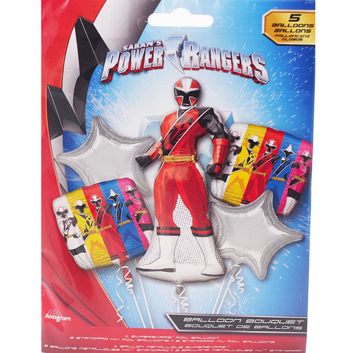Saban's Power Ranger Happy Birthday Party Favor 5CT Foil Balloon Bouquet