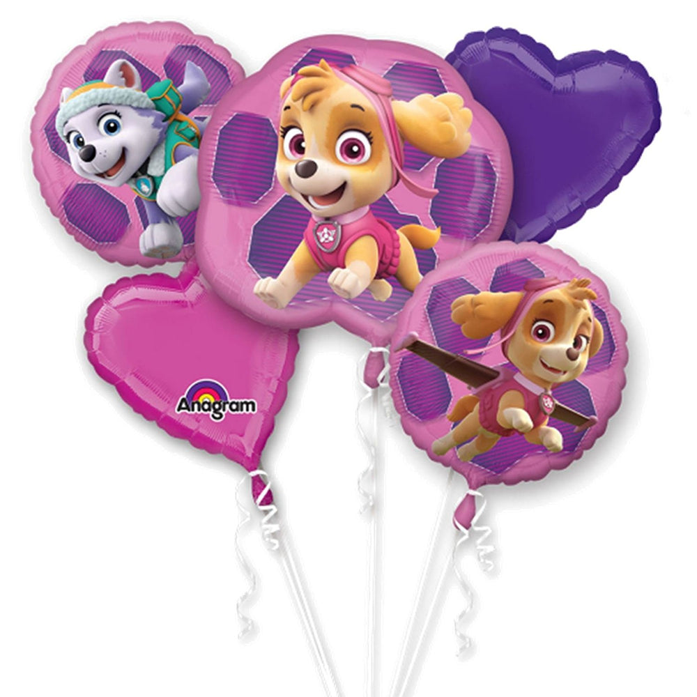 Nickelodeon Girl Paw Patrol Skye & Everest Party Favor 5CT Foil Balloon Bouquet