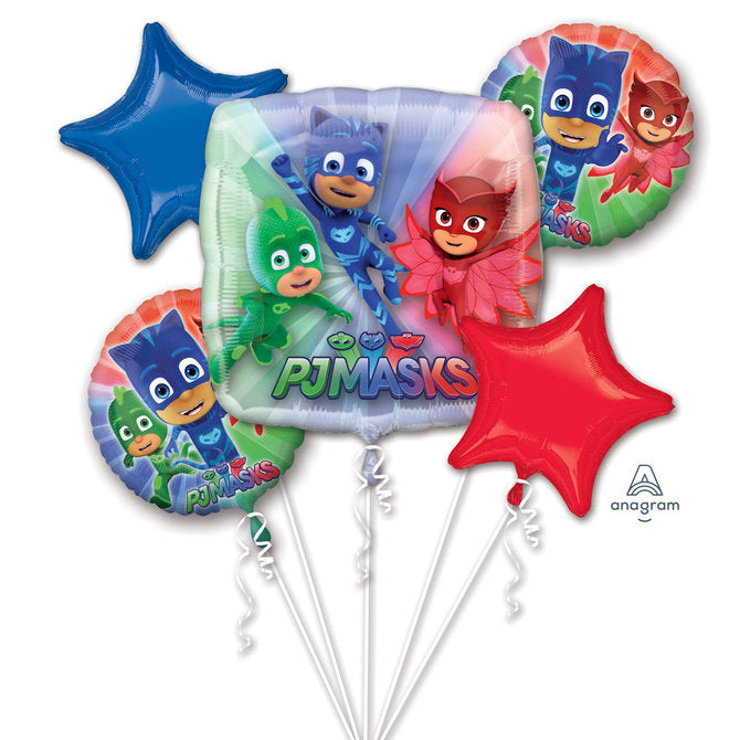 PJ MASKS Happy Birthday Party Favor 5CT Foil Balloon Bouquet HELIUM NOT INCLUDED