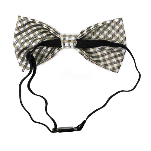 Adult Bow Ties - Beige Plaid Bow Tie