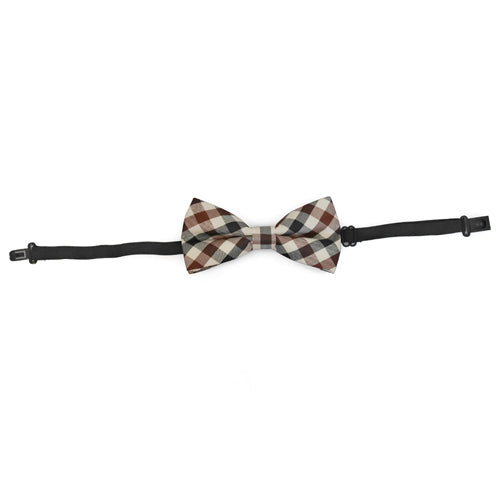 Ivory Plaid Bow Tie
