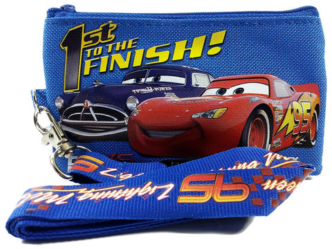 Disney Cars Royal Blue Lanyard ID Ticket Badge Key Chain Holder Wallet