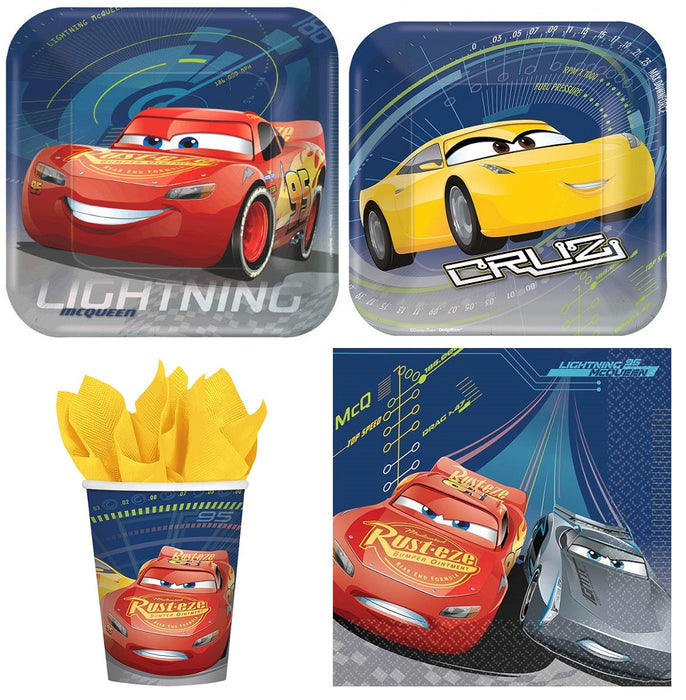Disney Cars 3 Combo Party Express Pack for 8 Guests (Cups Napkins & Plates)