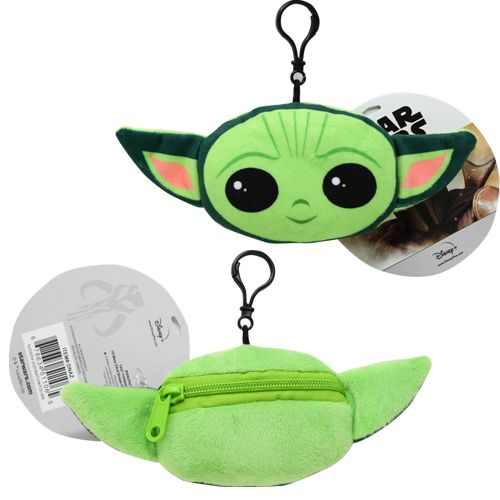 "Star Wars  The Mandalorian ""The Child"" Baby Yoda Head Shaped Plush Zipper Pull 2-4"""