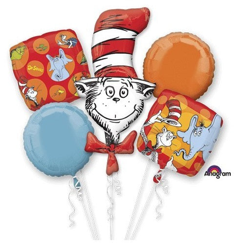 Dr. Seuss Cat Balloon Bouquet 5pc