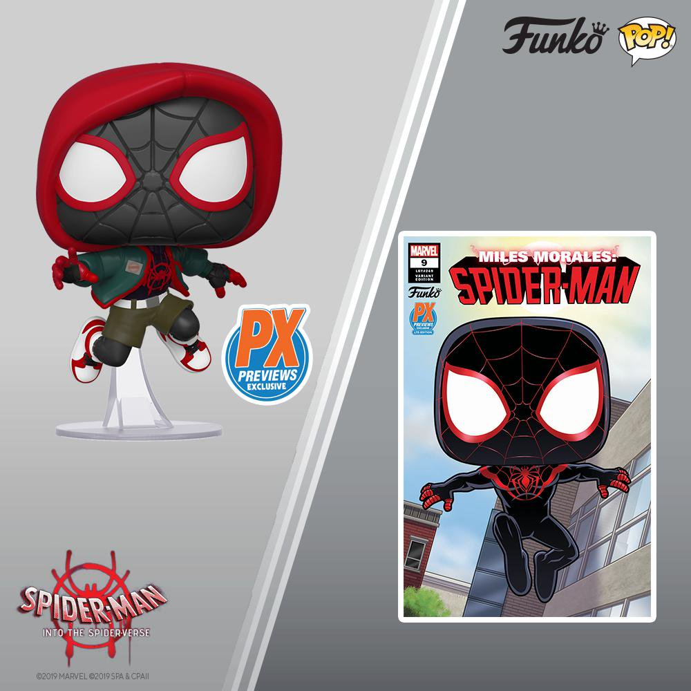 Pop Marvel: Animated Spider-Man - Miles Morales PX Preview Exclusive #529 w/ Protector + Comic Book
