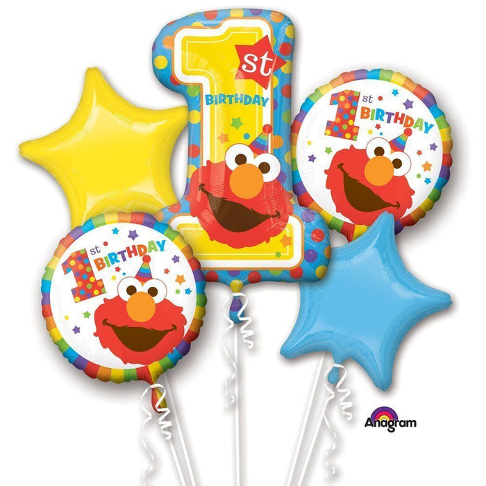 Sesame Street Elmo Happy 1st Birthday Party Favor 5CT Foil Balloon Bouquet