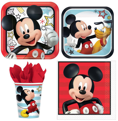 Mickey Mouse Birthday Party Express Pack for 8 Guests (Cups Napkins & Plates)