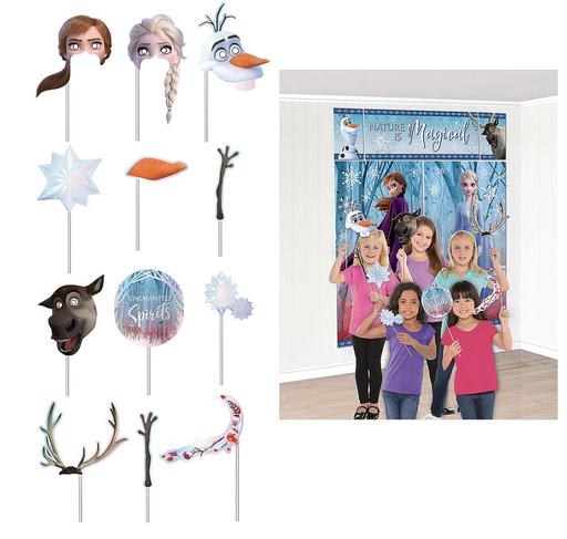 Disney Frozen 2 Wall Banner Scene Setter with Photo Booth Props