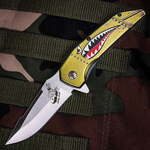 "M Tech USA Spring Assisted Knife 3.5"" Steel Blade Military Shark Head Art on Handle MT-A1129GN"