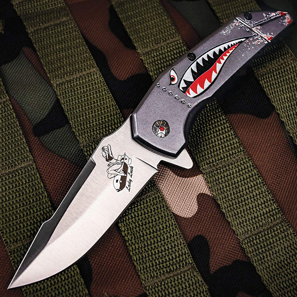 "M Tech USA Spring Assisted Knife 3.5"" Steel Blade Military Shark Head Art on Handle MT-A1129GY"