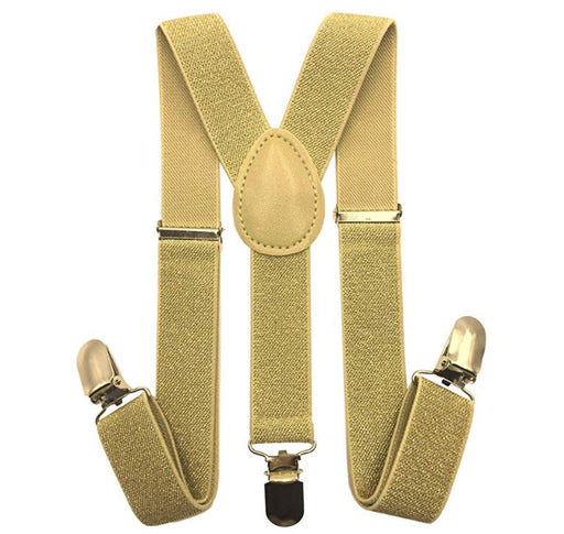 Kids Matching Set - Gold Champagne Toddler Suspender and Bow Tie