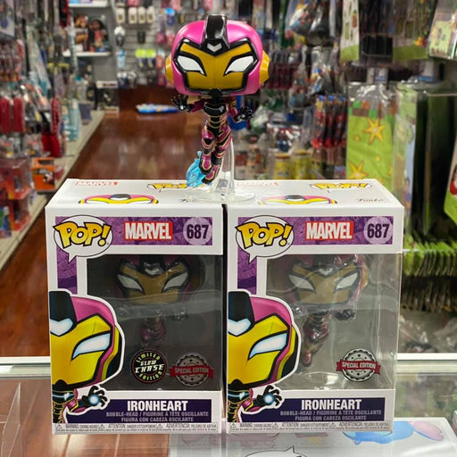 Funko Pop! MARVEL IRONHEART Common & Chase Bundle Bobble-head Figure #687 Special Edition Sticker!
