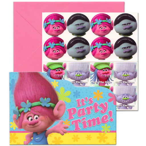 Pack of 8 Trolls Princess Poppy - Birthday Party Post Card Invitation