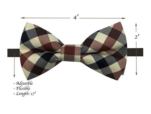 Kids Bow Ties - Toddler Ivory Plaid Bow Tie