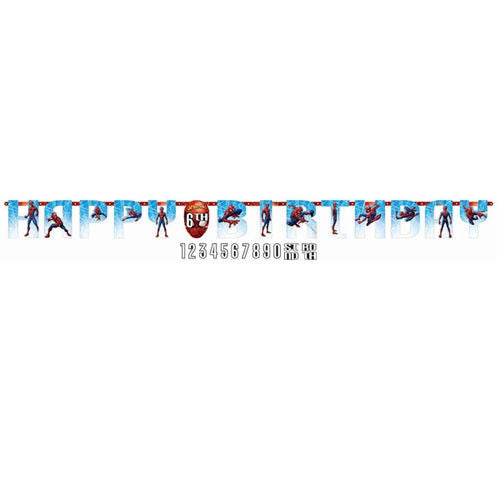 Marvels Spiderman Add an Age Happy Birthday Jumbo Letter Banner Kit