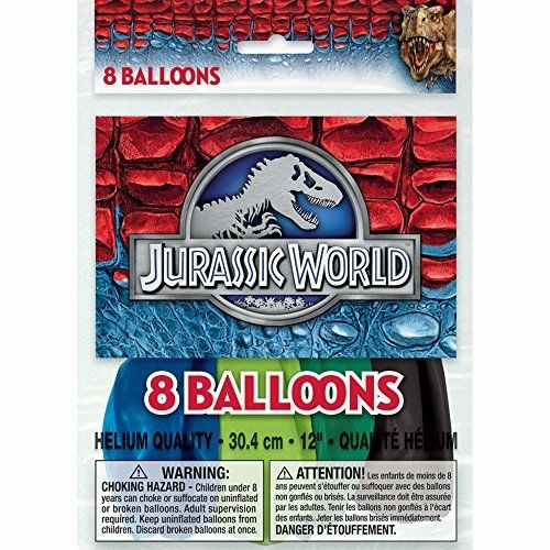 Jurassic World Dinosaurs Latex Balloons (6ct) Birthday Party Supplies 12""