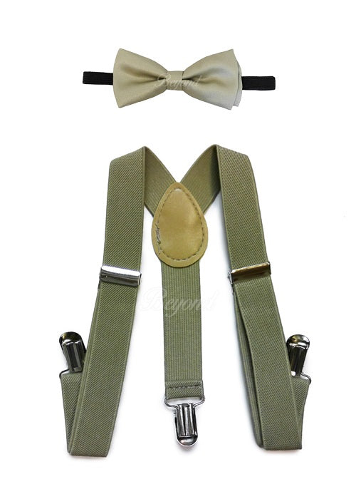 Kids Toddler Beige Matching Set Suspender and Bow Tie