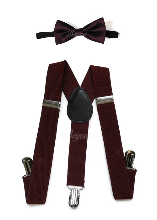 Kids Toddler Burgundy Matching Set Suspender and Bow Tie