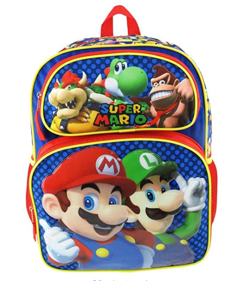"Super Mario Brothers - 16"" Deluxe Full Size kids Boy Backpack"