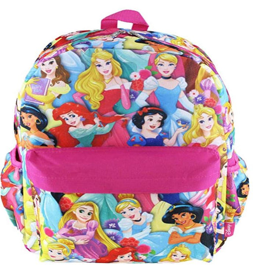 "Disney Princess - All over Print 16"" Canvas Pink Backpack"
