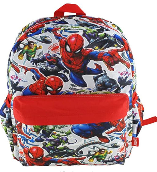 "Marvel Spider-man - All over Print 16"" Canvas Red Backpack"