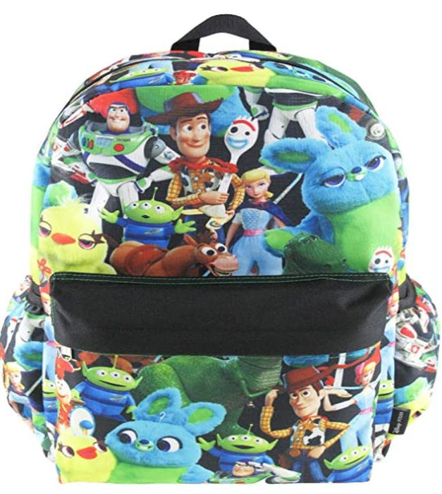 "Toy Story 4 - All over Print 16"" Canvas Black & Multi color Backpack"