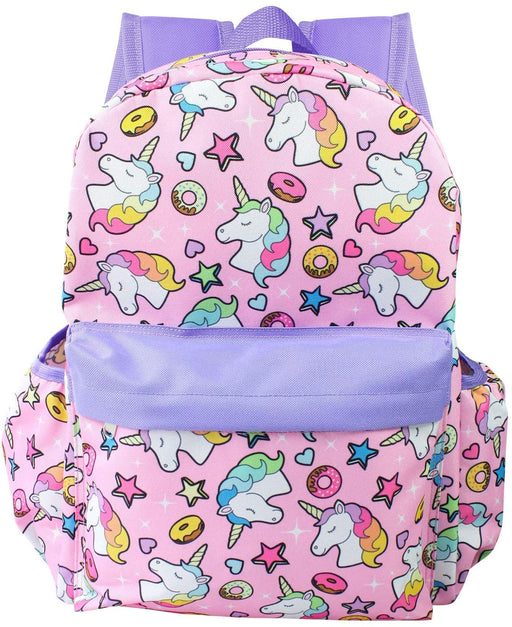"Unicorn & Donuts - All over Print 16"" Canvas Purple & Light Pink Backpack"
