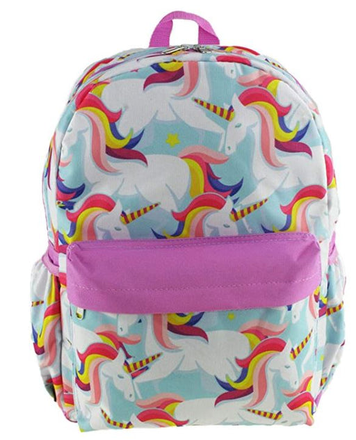 "Unicorn - All over Print 16"" Canvas Pink Backpack"