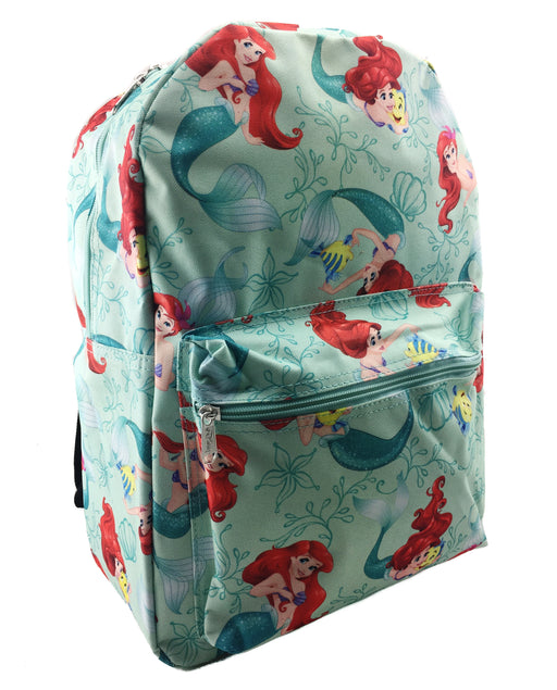 "Little Mermaid Allover Print 16"" Teal Green Canvas Backpack"